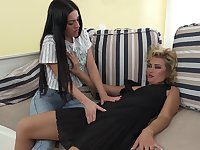 Mature lesbians Calista and Lena Hi Lace lick and finger each other