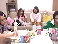 POV blowjob from Japanese teen babes in glasses and miniskirts