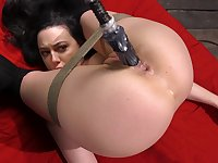 Nasty petite whore Whitney Wright tied up and fucked by a machine