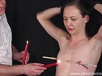Candle wax bdsm and obedience slave training of mature submissive in nipple pain and pussy punishments