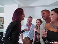 Classy MILF Jolee Love pounded hardcore in a pornstar group sex party