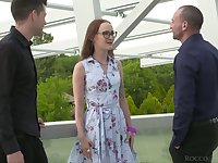 Two dudes with massive cocks fucks both holes of Russian hooker Sasha Sparrow