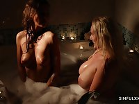 Soapy passionate threesome with Angel Wicky and Tina Kay in a bathtub