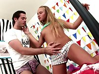 Slender petite sporty blonde teen Milla sucks cock and gets ass fucked