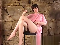 Brunette in Retro Photoshoot Rubs Pussy in Pantyhose
