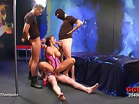 Gangbang beauty with big titties gives up all her holes