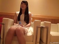 Redhead amateur Japanese long haired teen fucked missionary style