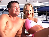 Blonde whore Boroka Bolls cum covered in a threesome on a boat