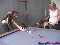 Threesome on the pool table with Spring Thomas and Violet Blue