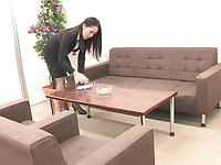 Amazing boss lady Ai Mizushima masturbates alone in her office on the couch