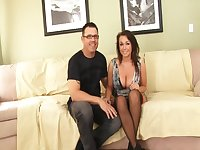 Curvy Brunette Milf With Big Boobs Gets Pussy Pounded By Her Man