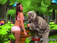 Spoiled and rapacious Heidi Van Horny has nothing against some crazy doggy