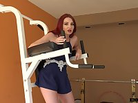 Sporty redhead Lacy Lennon swallows cum after a workout