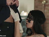Kinky masked babe Sofia Like wanna be fucked in standing pose