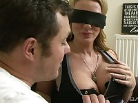 Awesome blindfolded blonde MILFie whore in corset gets pounded doggy