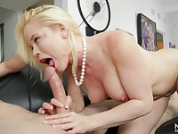 Bright red lipstick on a cocksucking bleach blonde slut