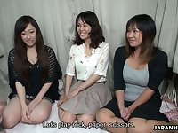 Lovely Japanese girls serve several insatiable dudes and show their creampied pussies