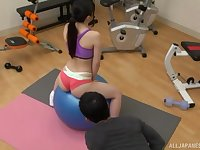 Sporty fit Japanese teen seduced into a hardcore fuck at the gym