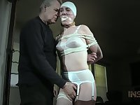 Nerdy Sierra Cirque gets handcuffed and fixed with chains before masturbation