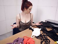 Awesome red haired office slut Jaye Rose flashes boobs while choosing bras