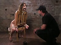 Crucified submissive whore Charlotte Cross gets fingerfucked brutally