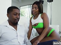 Big racked chocolate GF Chanell Heart takes long BBC into her cooch
