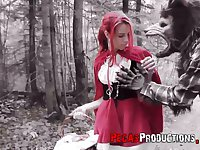 Pink haired chick in red riding hood outfit Brind Love is fucked in the forest