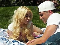 Juicy blond babe Kenzie Reeves is having crazy quickie with her boyfriend in the garden