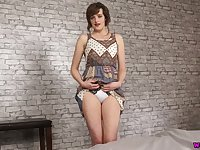 All alone bosomy lady Kate Anne exposes her thighs during nude show