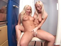 Gorgeous blonde teen lesbians Britney Spring and Elly B ass fingering