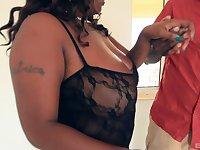 Ebony BBW Velvet Rose bends over for cock and a cumshot