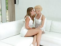 Two captivating blond babes are eating each others delicious pussies