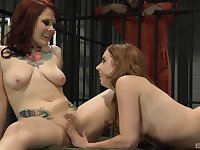 Busty prison lesbian couple Misty Dawn and Lexi Belle