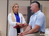 horny doctor Abella Danger ridding hard and sticky penis on the table