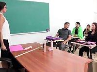 brunette sucks and fucks in class