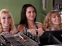 Girls are having a naughty time sharing porn together
