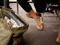 Candid class flip flops.