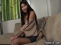 Playful leggy GF Ezmie Lee gives footjob and good handjob to her aroused stud