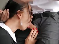 Hot secretary takes the cock right in her ass