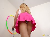 Bootyful blonde takes off panties and shows off yummy pussy and ass upskirt