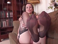 Busty brunette wants all your cum over her vintage nylon feet