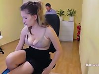 The boss dont mind her squirting while working