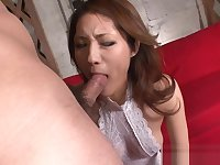 Long hairy asian deepthroat action