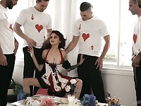 Professional hooker Lola Fae is serving several dudes at the bachelor party