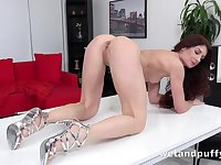 Speculum spreads her milf cunt wide open