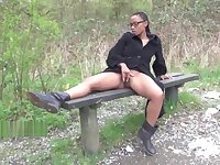 Ebony babe Michelles public flashing and black cutie outdoor