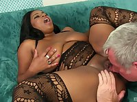 Busty ebony Mirage shows her fucking skills to her white friend