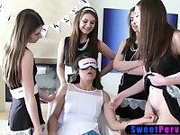Lesbian teen schoolgirls humiliate a blindfolded newbie