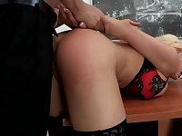 Blonde Slut Mouthfucked at work