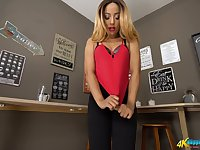 Naughty gal in short skirt Kayla Louise is eager for your big hard phallus